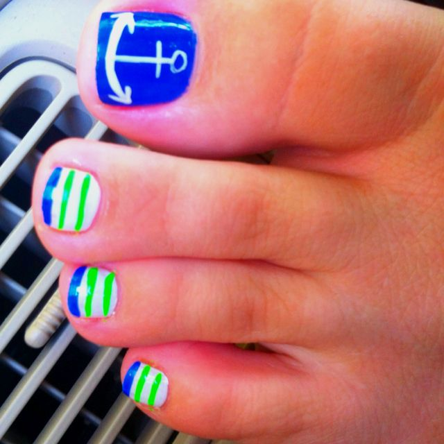 Blue and green with anchor toe nail art design idea - Anchor Nails From My Pedi Today. :) Cute Pics Pinterest Anchor