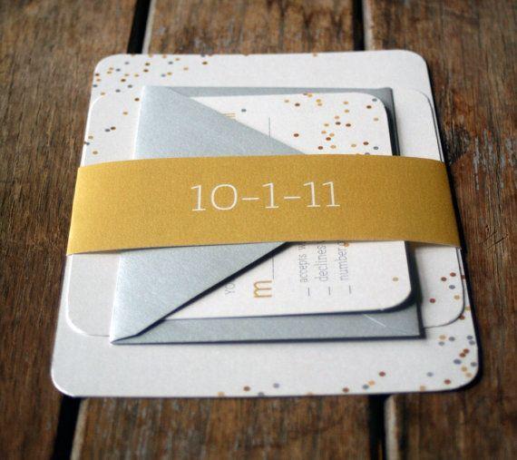 Modern Confetti Wedding Invitations by Bdesignsinvitations on Etsy,