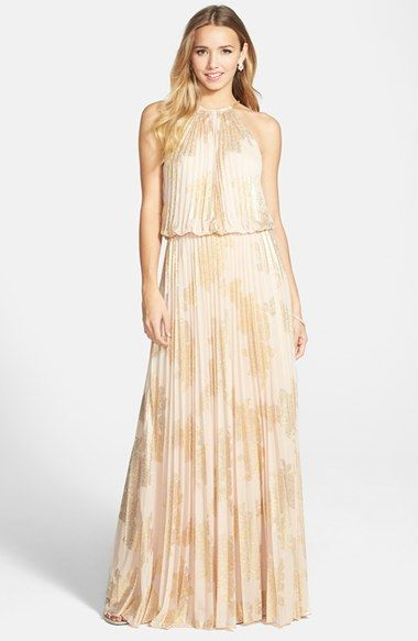 3d81bdb8e52 This will look amazing on all my girls  ) ) Thanks Jess! Xscape-Foiled  Pleated Jersey Blouson Dress Nude Gold