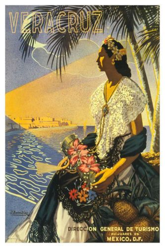 Veracruz-Mexican-Girl-Vintage-Style-Travel-Tourism-Poster-A4-Reprint
