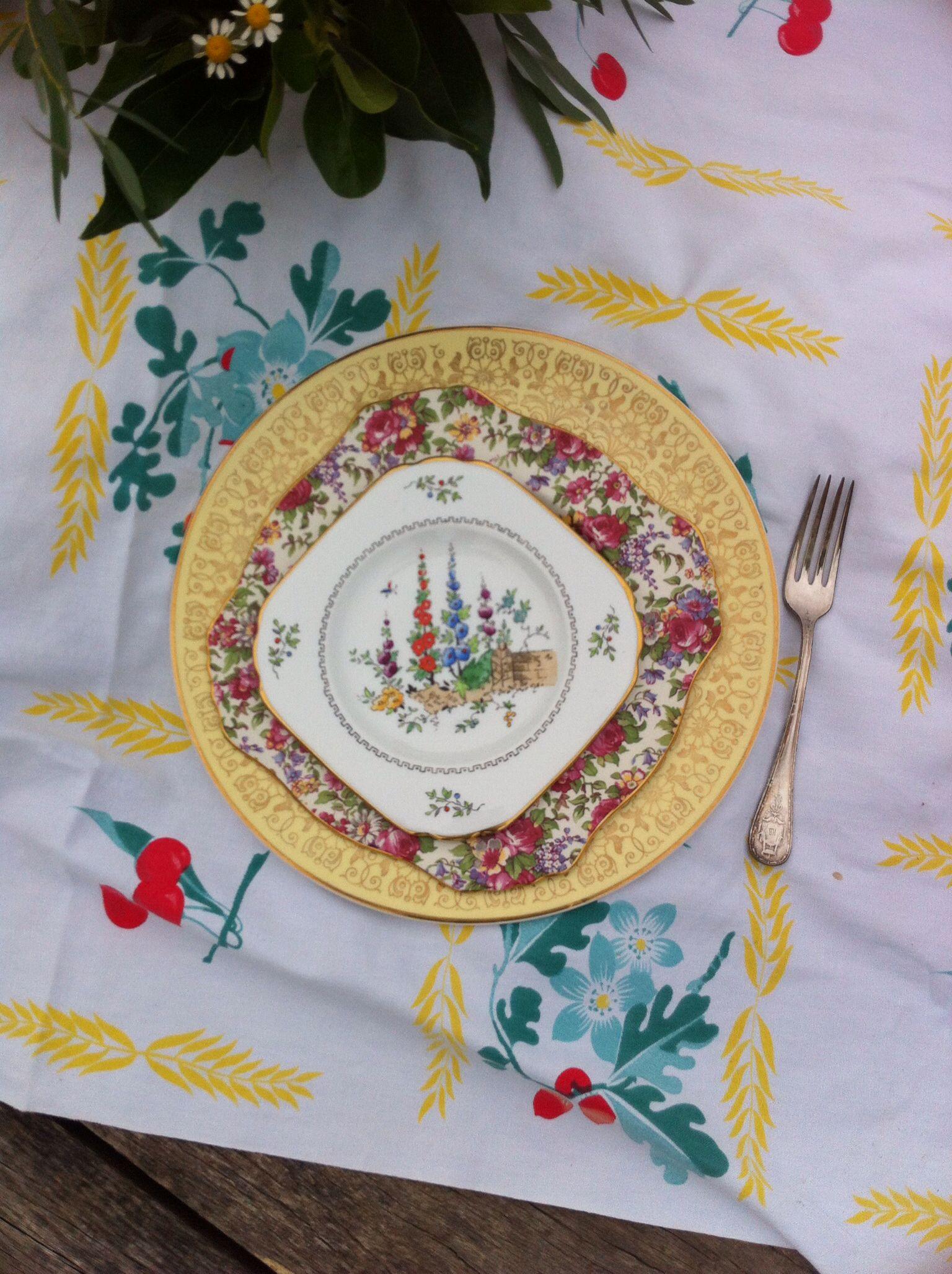 Love tall hollyhocks on this square dessert plate  #wedding#vintagechina#vintageplate#englishchina#atlantarentals