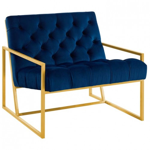Best Blue Navy Tufted Velvet Square Box Gold Frame Arm Chair 400 x 300