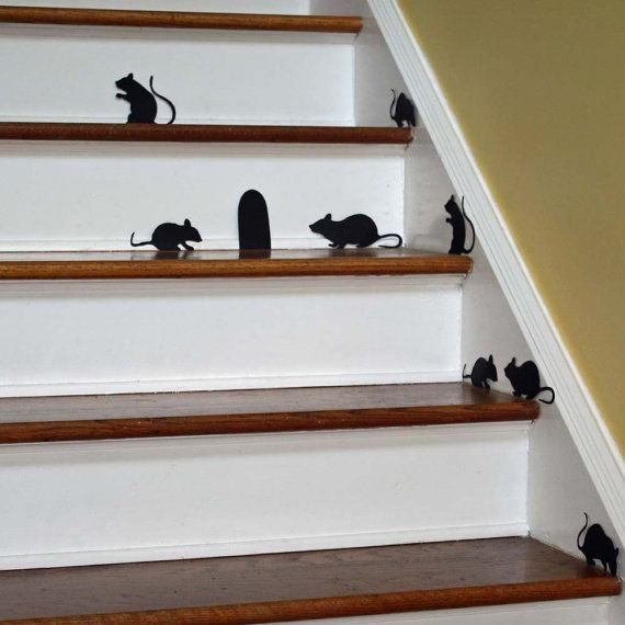 Halloween Decor Wall Decal Creepy Stair Mice With Mouse Hole Repositionable Vinyl Silhouettes Non Scary Handmade Halloween Decorations Cute Halloween Decorations Halloween Inspiration