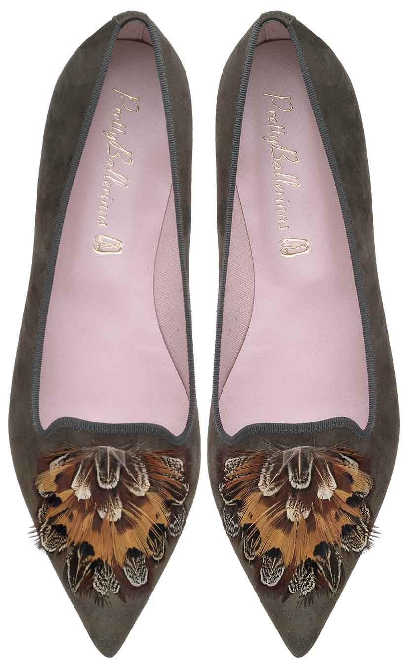 Ella khaki Loafer with a pointed toe & feathers | Pretty