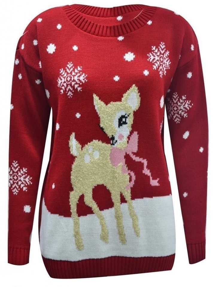 New Women's Ladies Mens Unisex Reindeer Twin Rudolph Penguin Christmas Jumper in Clothes, Shoes & Accessories, Women's Clothing, Jumpers & Cardigans | eBay