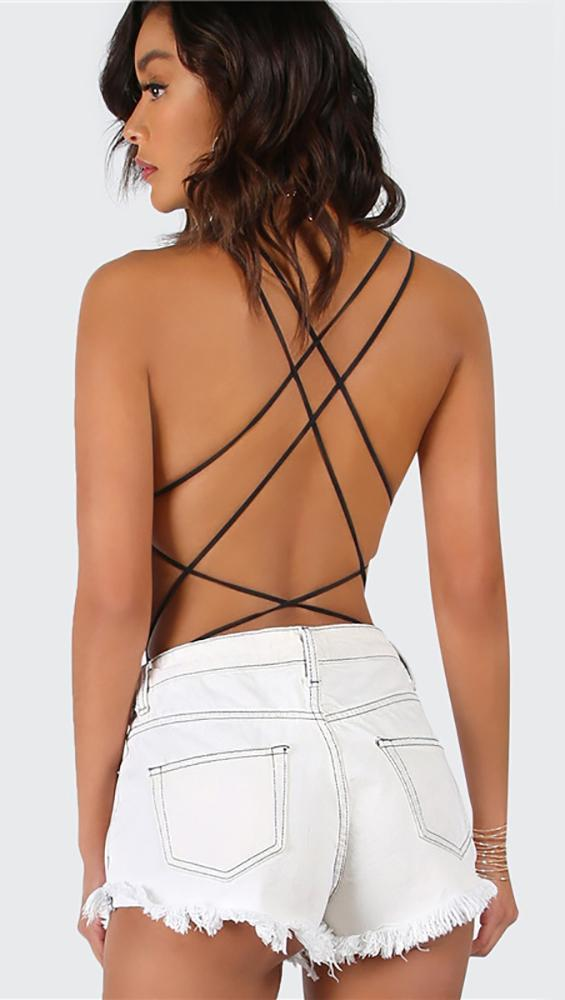 The Chloe bodysuit is an open back one piece with strappy details  decorating the sexy back. The solid black bodysuit has a scoop neck and  thong bottom. 304747f66