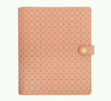 KIKKI K PERFORATED LEATHER PERSONAL PLANNER LARGE: PEACH NEW