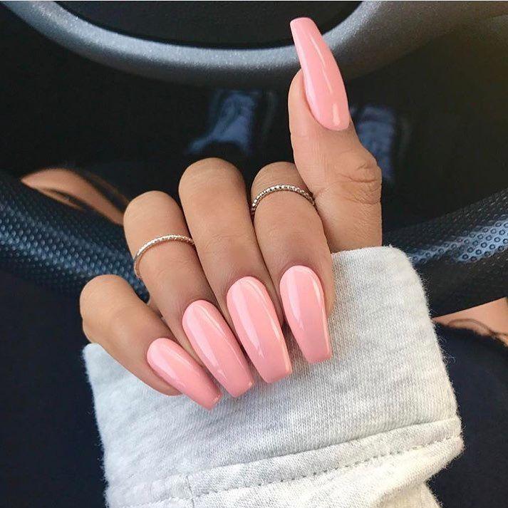 Baby Pink Coffin Acrylic Nails Coffin Dip Nails Baddie Nails Pink Nails Gorgeous Nails Long Nails