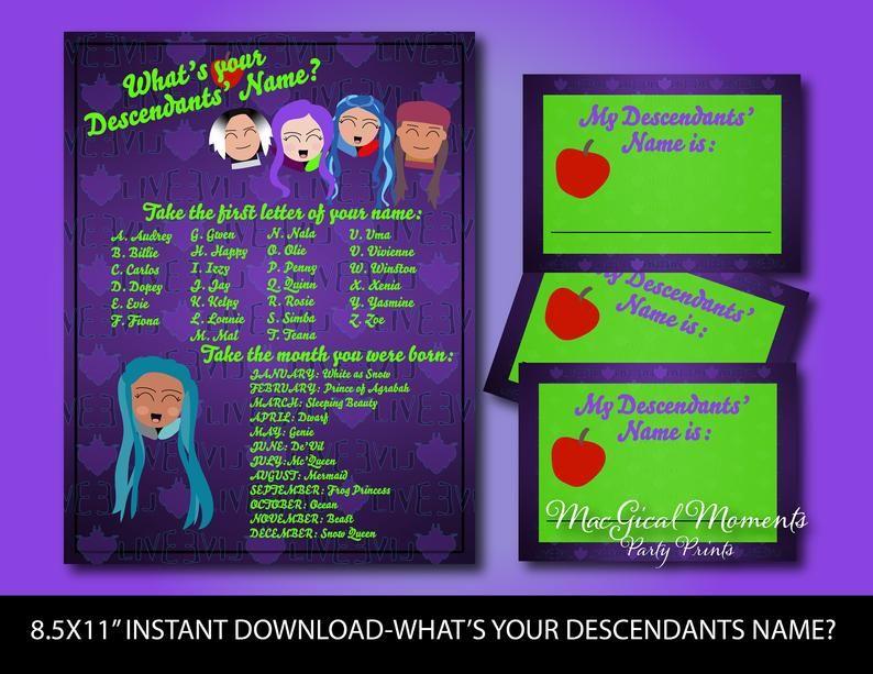 Descendants Party Game, What's Your Descendants Name