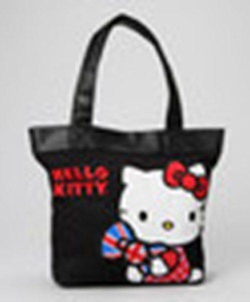 1d78d9701311 Hello Kitty British Tote Handbag Black Handles British Flag Bow Loungefly  BNIP  Fashion  Style  Deal