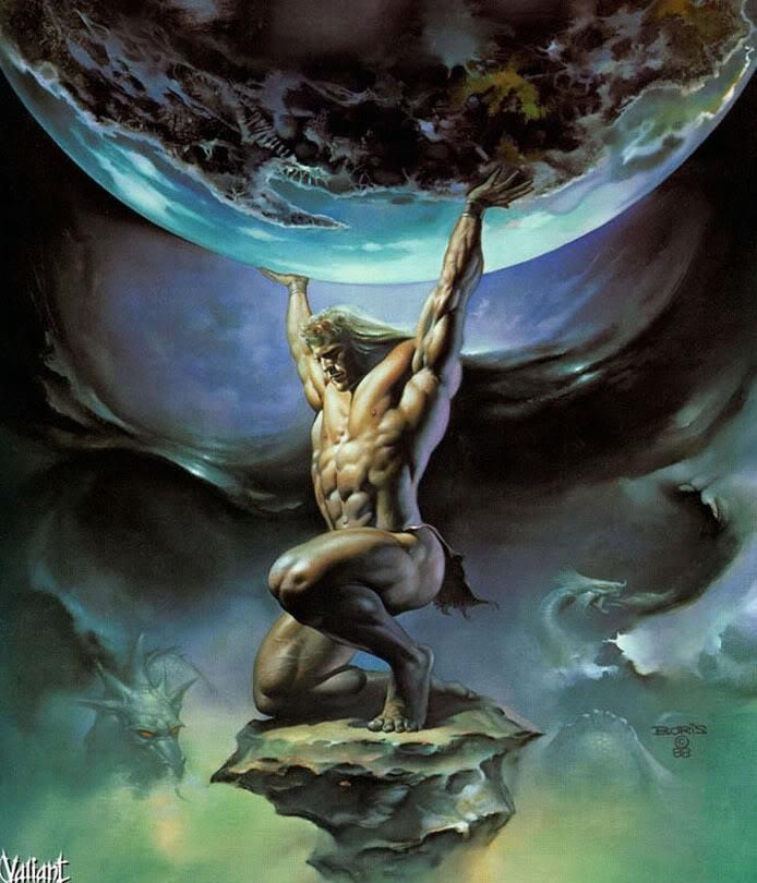Atlas, a titan who's punishment was to hold up the earth