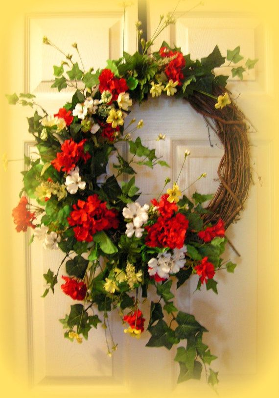 Colorful Summer Wreathgeraniums Greenery 30 By