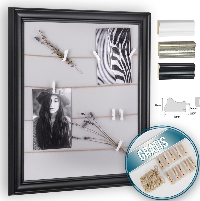 Der Rahmen mit Schnur und Klammern setzt Ihre Fotos, Postkarten ...