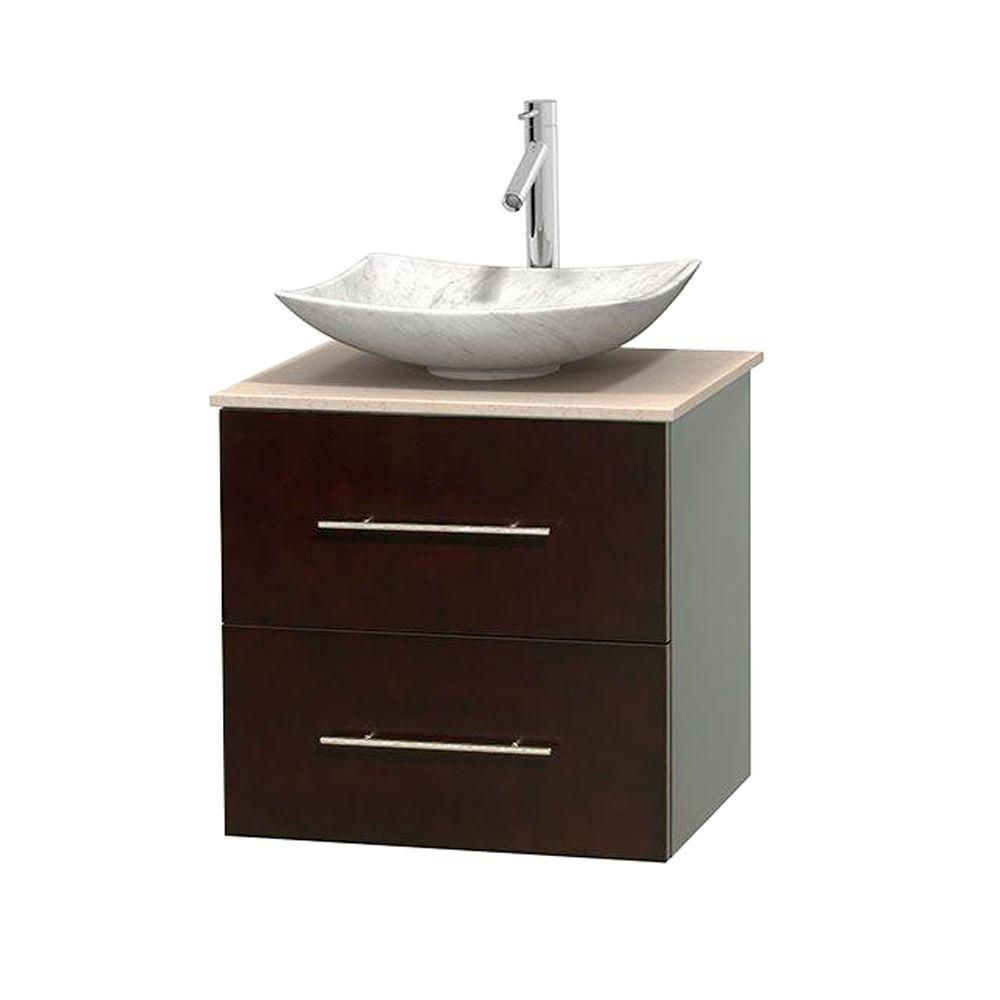 Centra 24 Inch W 1 Drawer 1 Door Wall Mounted Vanity In Brown With