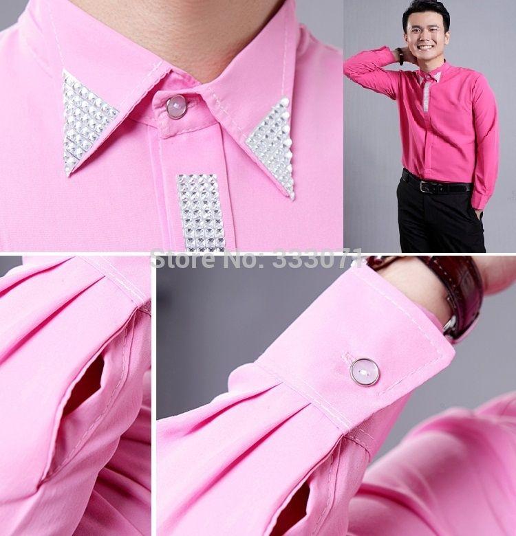 2015 New Pink / Hot Pink Rhinestone Long-sleeved Men Shirt Wedding ...