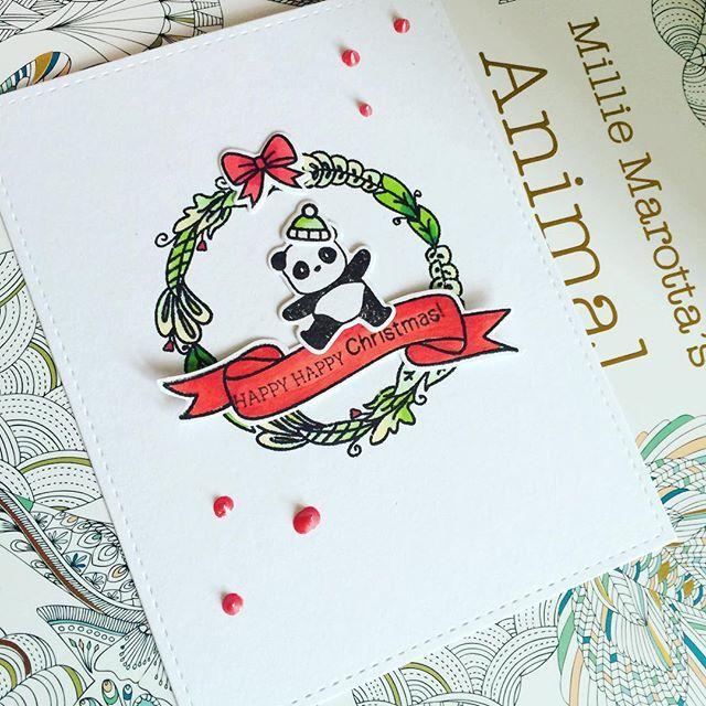 Happy happy happy Christmas! #cardmaking #papercraft #crafting #mamaelephant #charmed #handmadechristmas #handmadecard #stamping #panda #wreath