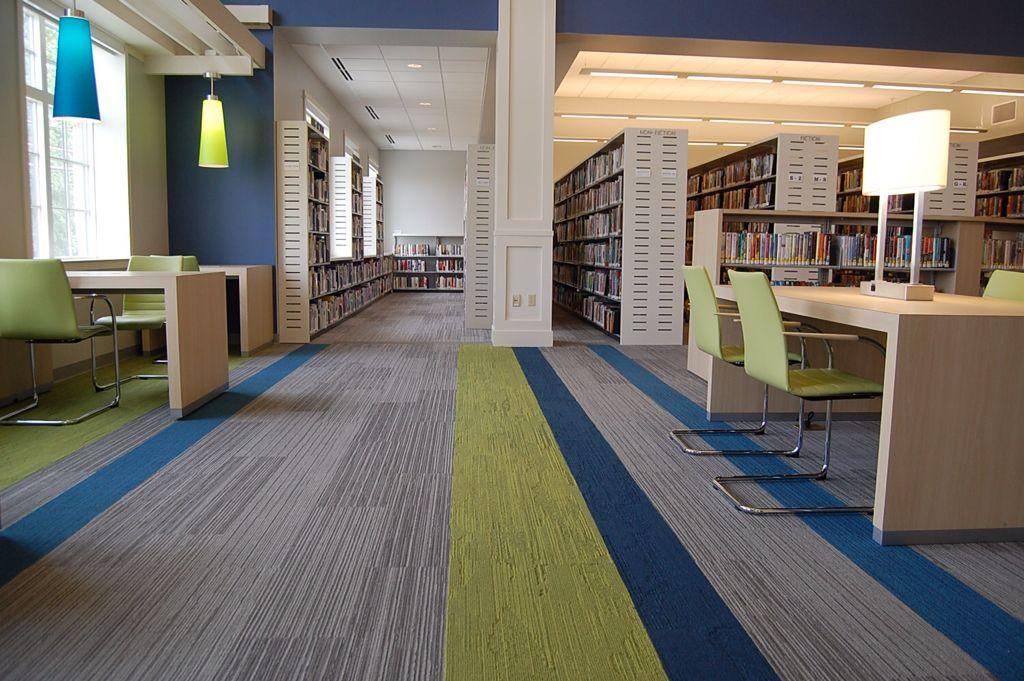 Community Library Planks Carpet Tiles Design Floor Tile Design Office Interior Design