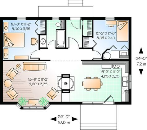 House Plan 034 00528 Lake Front Plan 874 Square Feet 2 Bedrooms 1 Bathroom Tiny House Plans Cottage Style House Plans Cabin House Plans
