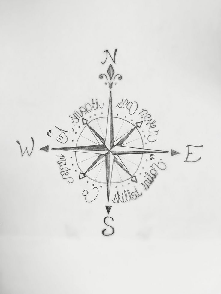 Compass tattoo: A smooth sea never made a skilled sailor.