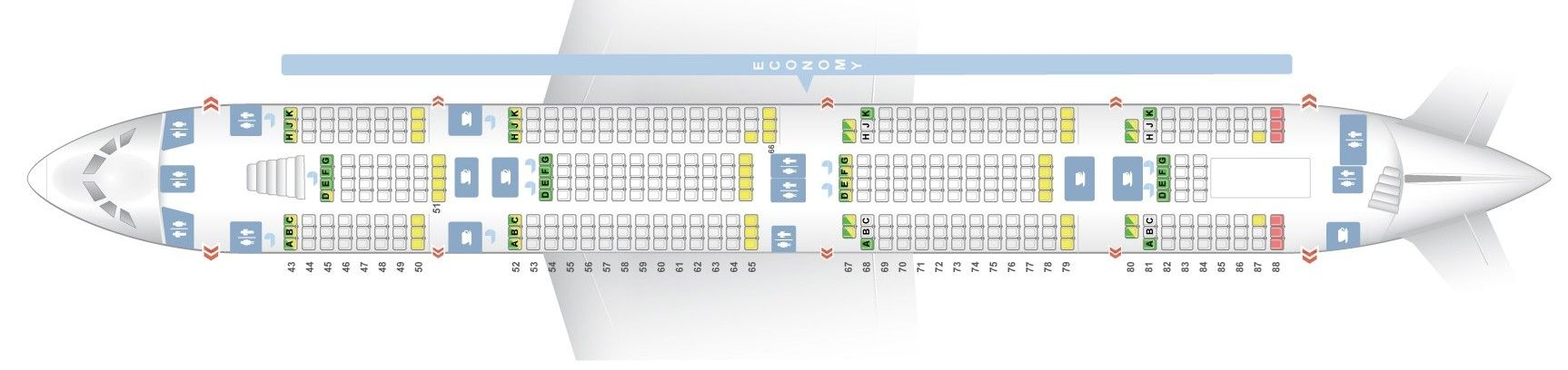 Seat Map And Seating Chart Airbus A380 800 Emirates Three Class V1 Lower Deck Emirates Fleet Airbus A380 Airbus