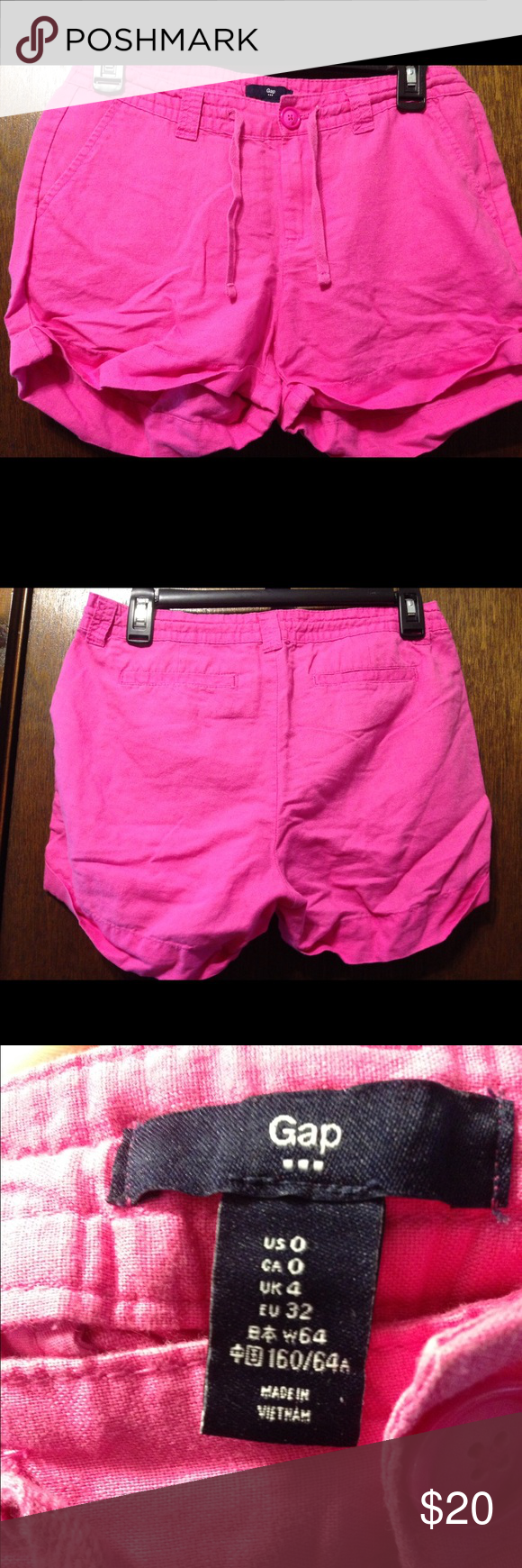 Linen shorts Pink linen shorts are barely worn and very comfy! I think Gap sizes run a bit large personally so these are a bit roomy :) purchased within the last year and didn't wear as much as I had hoped! Please give these a new home-you won't regret it :) OBO GAP Shorts