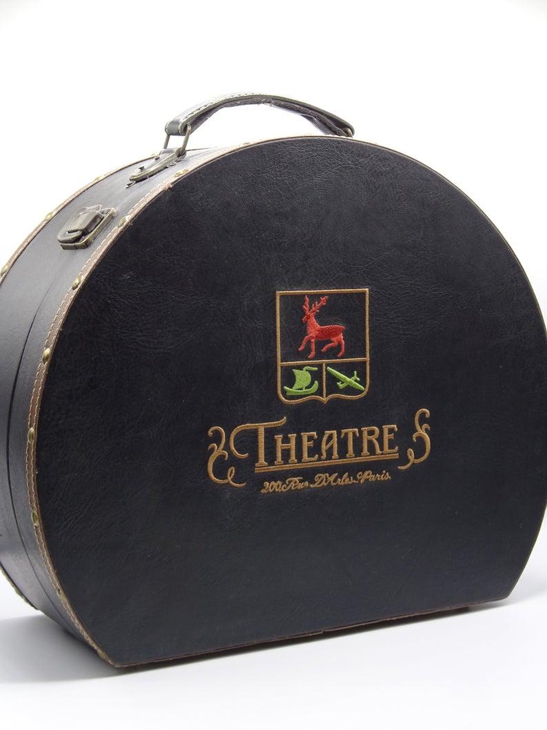 Vintage Wooden Hatbox Theatre 200 Rue D Arles Paris Hat Etsy Hat Boxes Hat Box Paris Hat