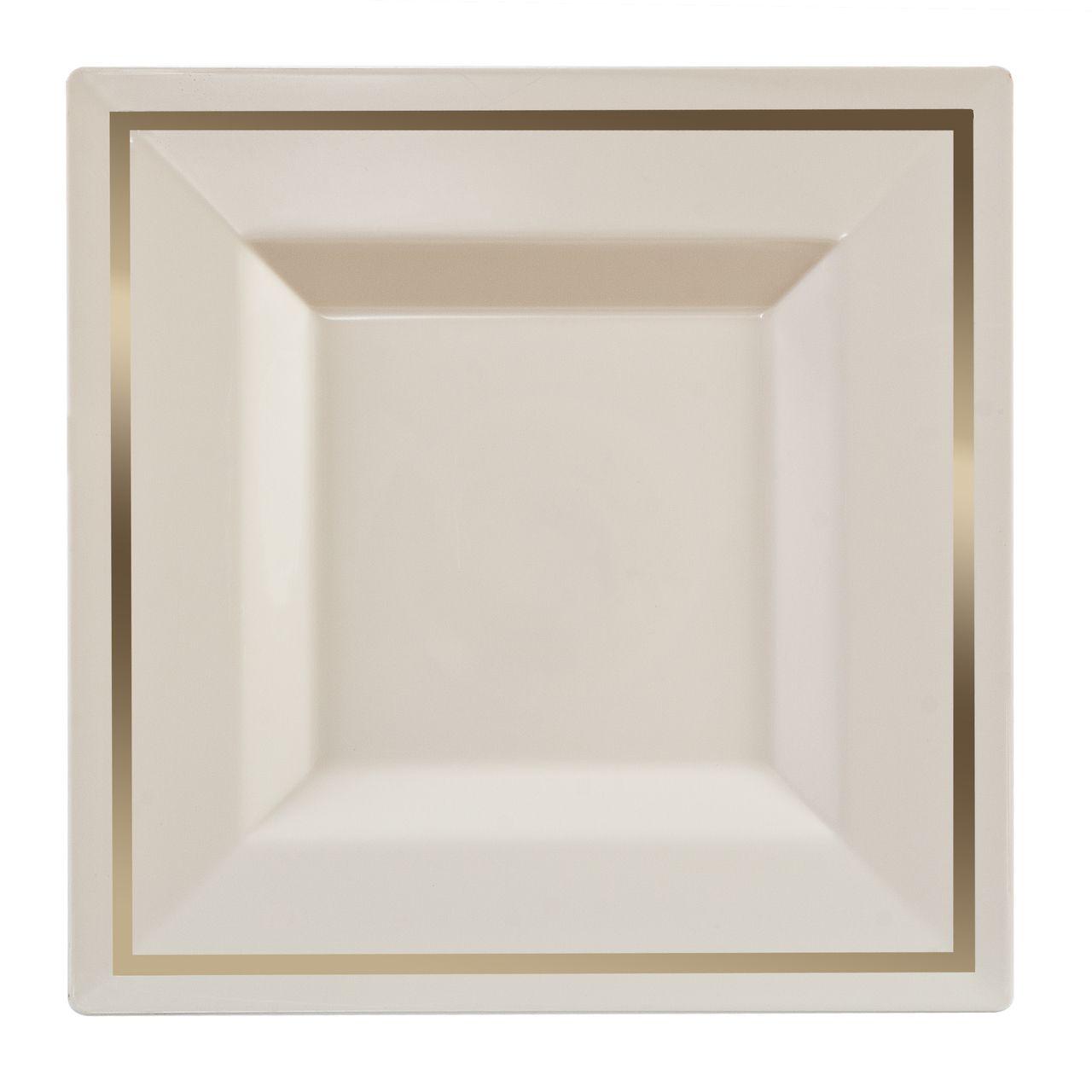 6.5  Square Ivory / Gold Bari Plastic Dessert Plates  sc 1 st  Pinterest & 6.5