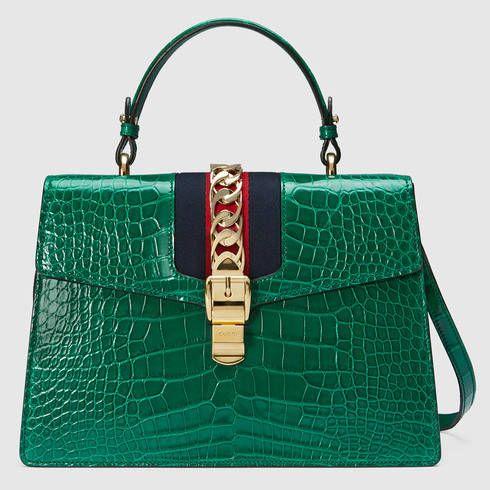 Sylvie crocodile top handle bag - Gucci Women s Handbags 431665EV4CG3160 1b1e2f6f77d5
