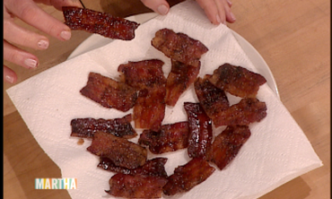 Martha shares her recipe for tasty -- and addictive -- brown-sugar-glazed bacon, a mouthwatering recipe you'll want to try.