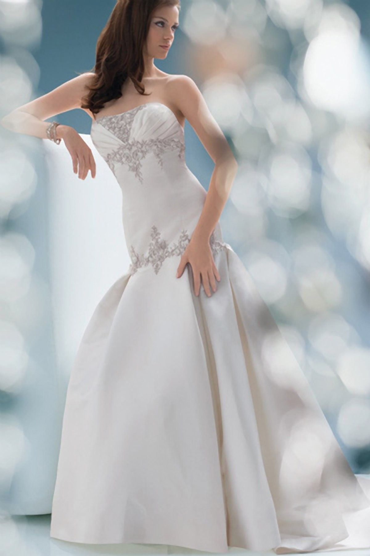 Satin Sculpted Strapless Embroidered Bodice Wedding Dress