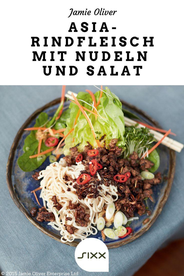 jamie oliver knuspriges rindfleisch asia style vollkornreisnudeln viel salat rezepte. Black Bedroom Furniture Sets. Home Design Ideas