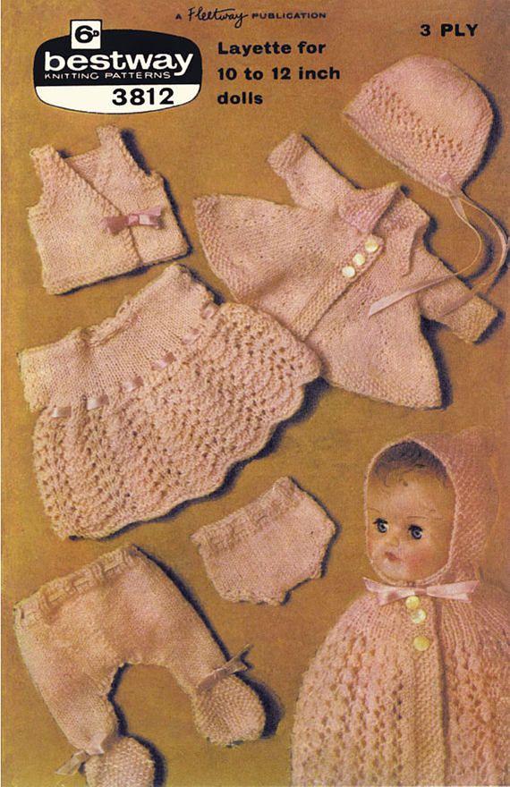3448e6535291 PDF Vintage 1950s Dolls Clothes Layette Knitting Pattern