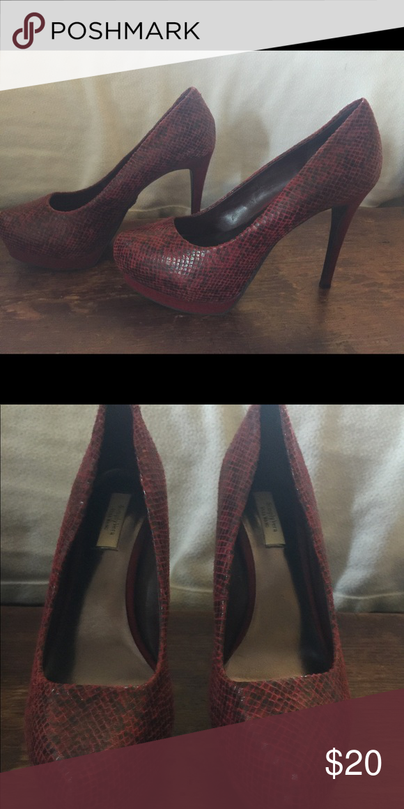 63b5e33d5d2 Simply Vera Vera Wang red black snakeskin heels Gently used condition  Simply Vera Vera Wang Shoes Heels