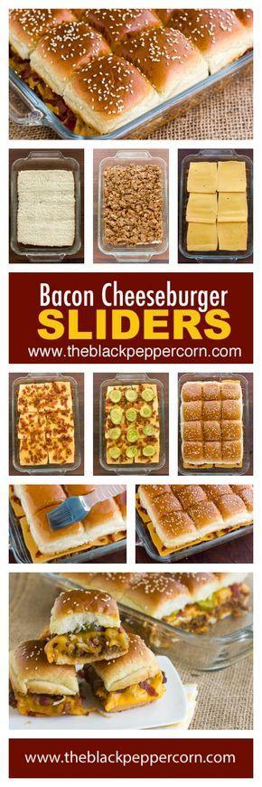 Bacon Cheeseburger Sliders Recipe - Make mini bacon cheeseburger sliders at home with 12 pack dinner rolls (ex: King's Hawaiian) and using ground beef, bacon, cheddar cheese, ketchup and mustard. via @blackpeppercorn #breakfastslidershawaiianrolls