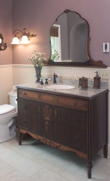 Using An Old Dresser As A Bathroom Vanity Notice The Mirror Is Detached From The Dresser A Victorian Bathroom Traditional Bathroom Vintage Bathrooms