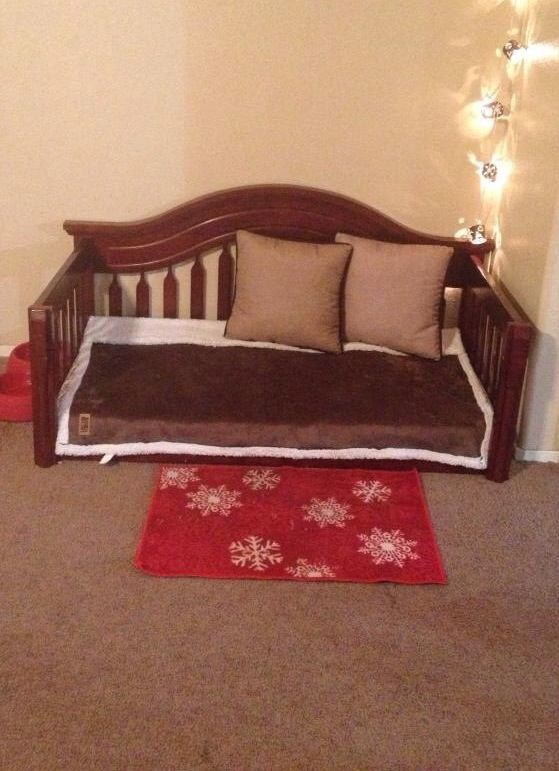 diy dog bed from upcycled crib mattress and crib we re worked our kids 39 outgrown crib into a. Black Bedroom Furniture Sets. Home Design Ideas