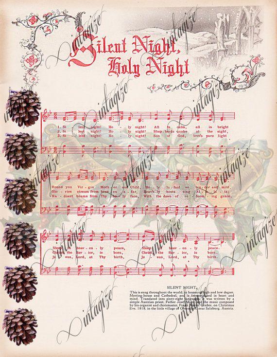 Silent Night Printable Vintage Christmas Sheet Music