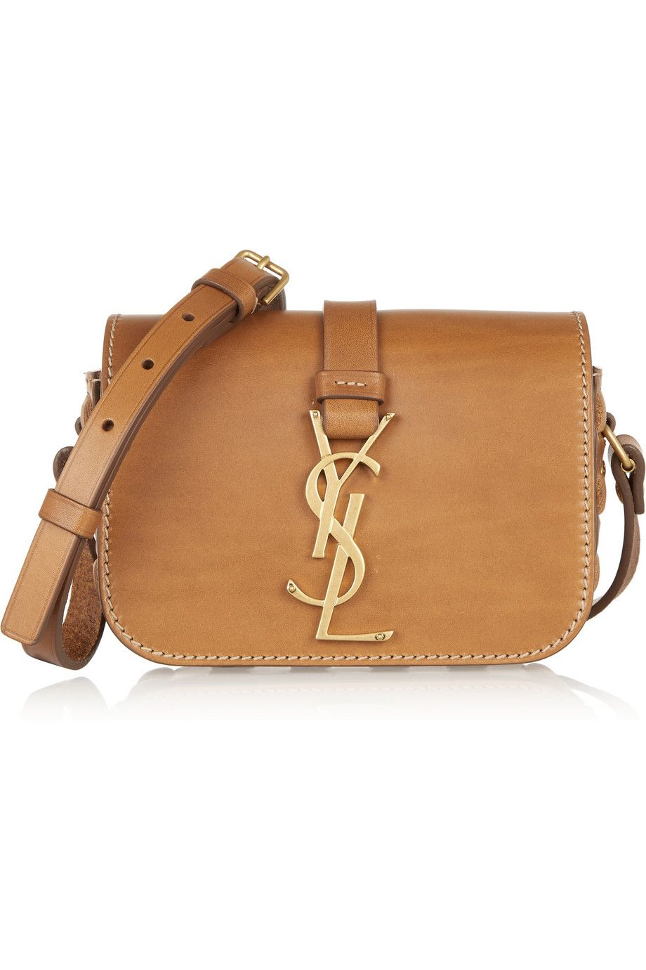 ea22db9617fe Saint Laurent Monogramme Sac Shoulder Bag in Tan Leather with Stitch Detail