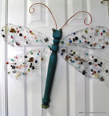 A dragonfly with beaded wire wings and an old table leg....so cute!