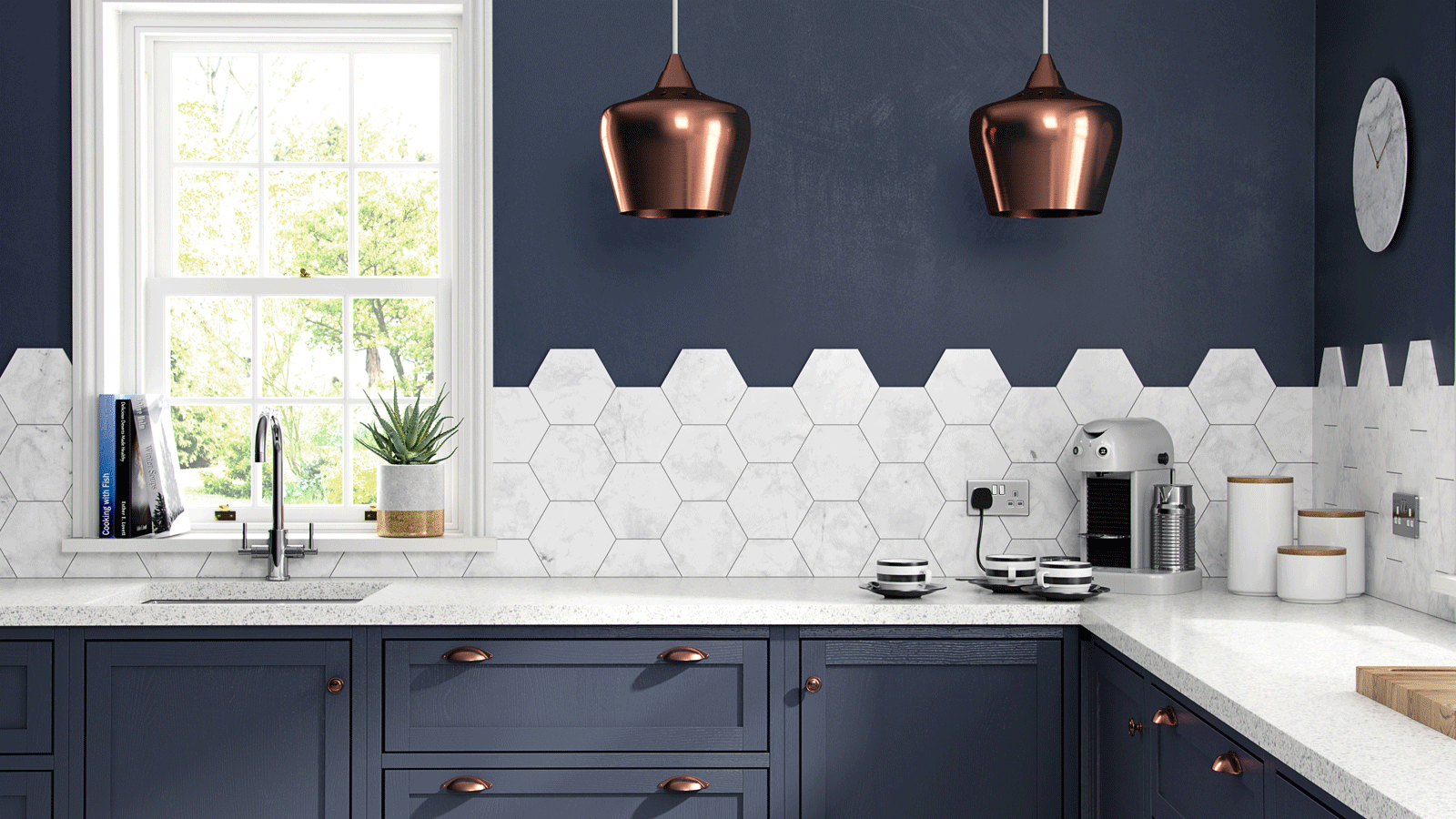 Brilliant placements of the porcelain Hexagon tiles - Matt white ...
