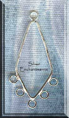 Sterling Silver Diamond Chandelier Earring Parts with 5 Loops ...