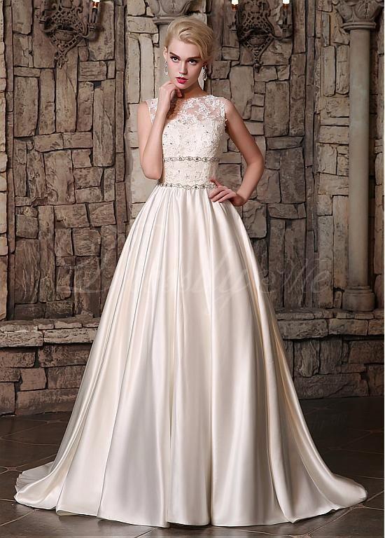 comprar En Stock Satén precioso escote joya A-línea de vestidos de ...