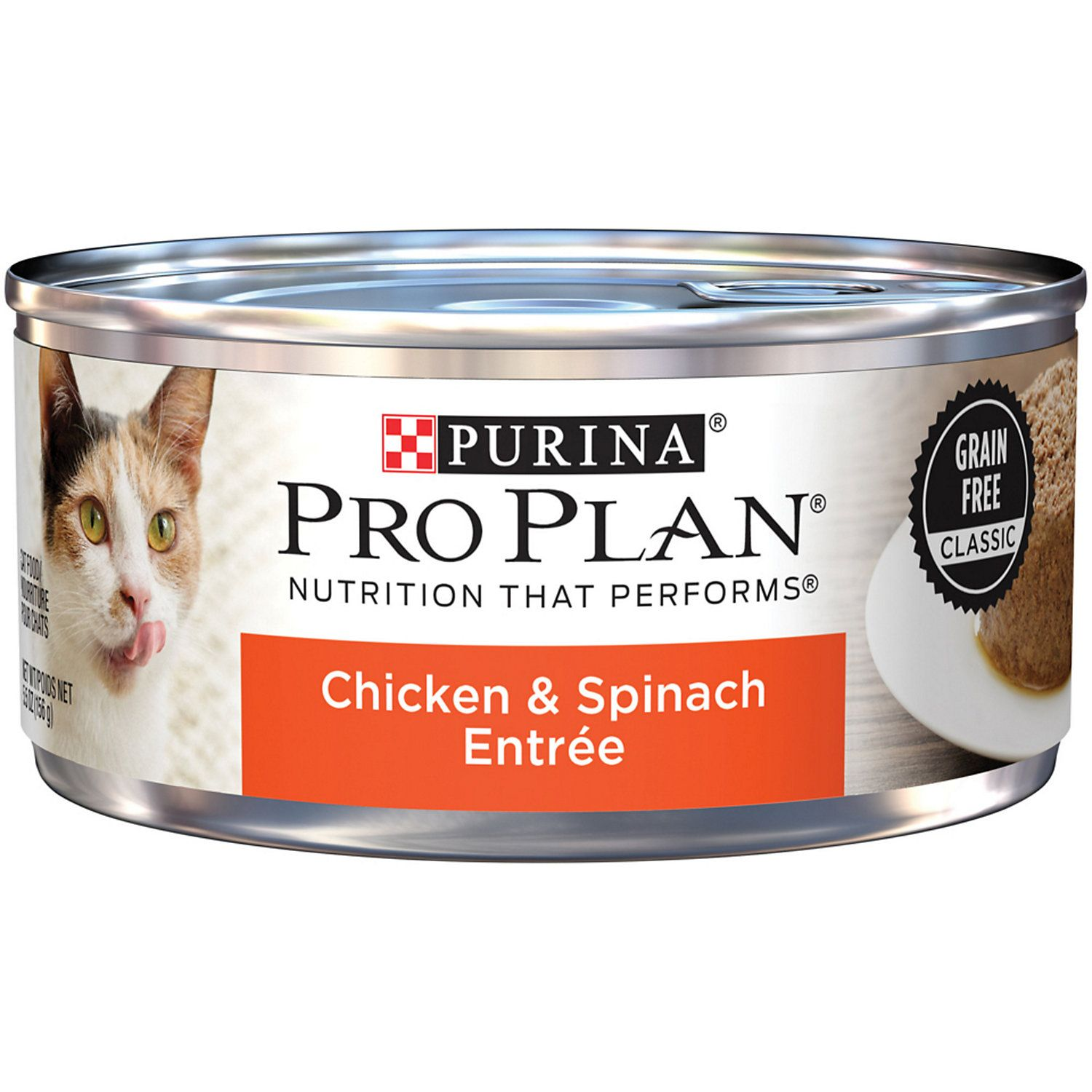 Purina Pro Plan Grain Free Classic Chicken Spinach Entree Adult Wet Cat Food Canned Cat Food Purina Pro Plan Cat Food