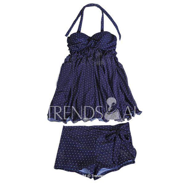 Stylish Halter Polka Dot Ruffled Two-Piece Swimsuit For Women