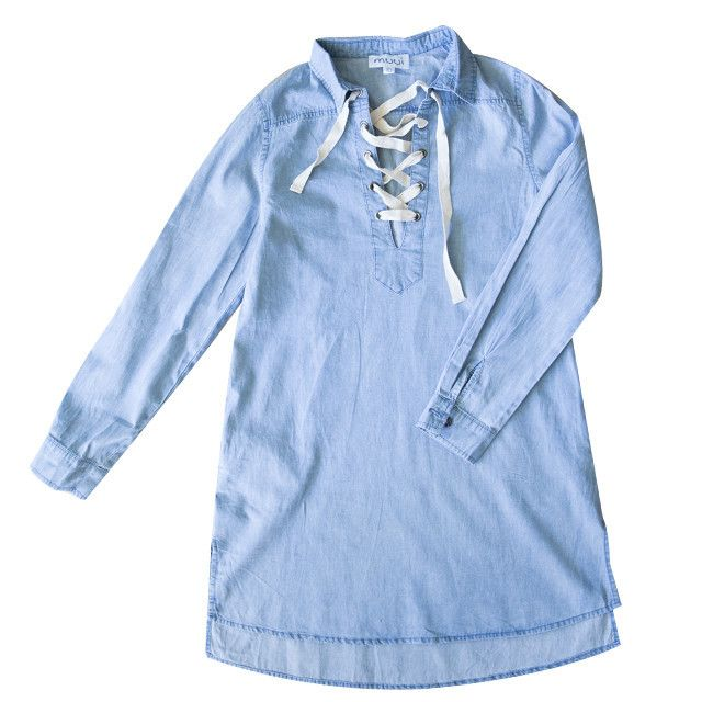 LACE UP CHAMBRAY IT DRESS;Pre-Order