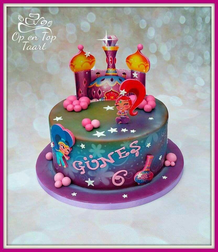 Shimmer and shine cake paytons 4th birthday pinterest for Decoration 4 cake