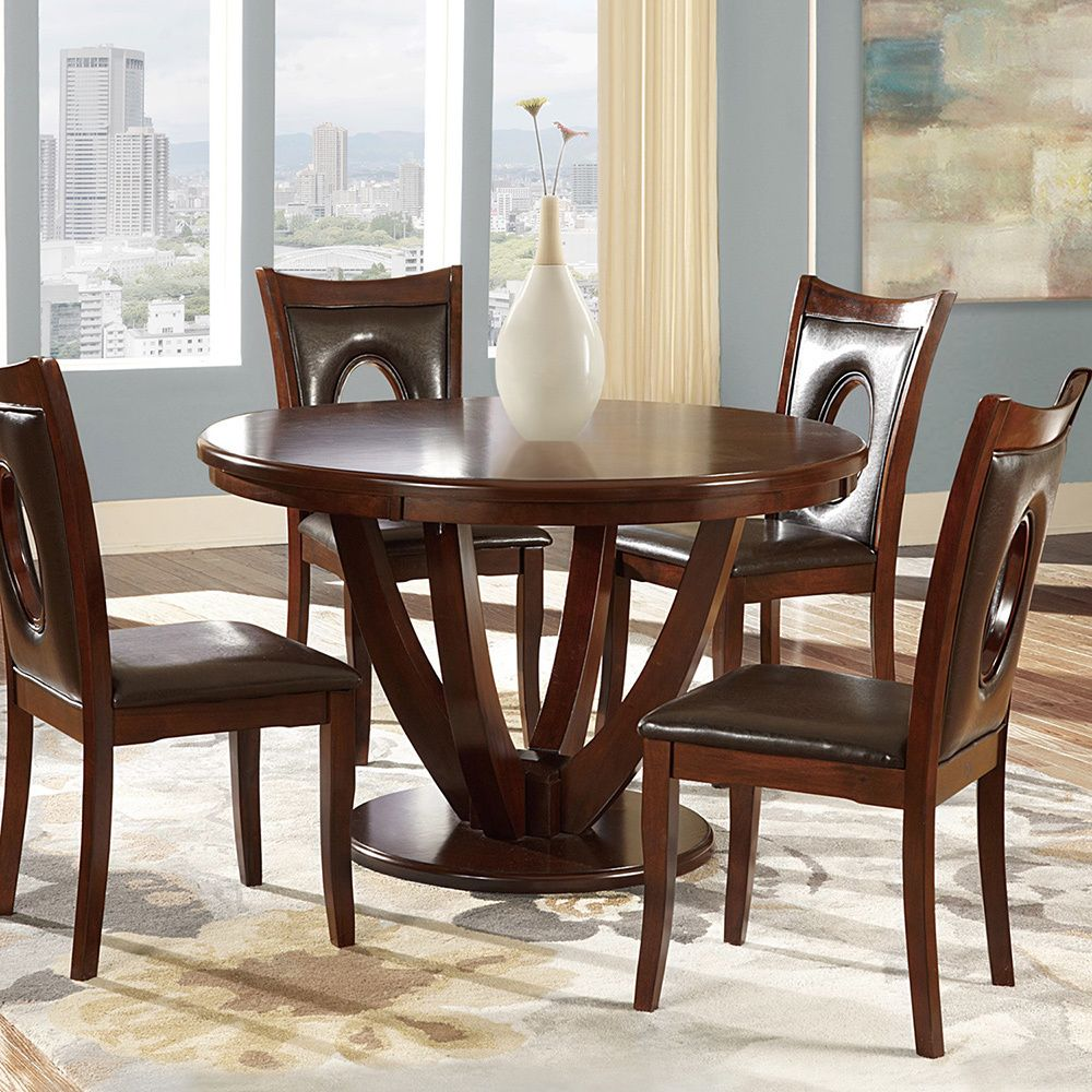 Miraval cherry brown round dining table by inspire q classic by
