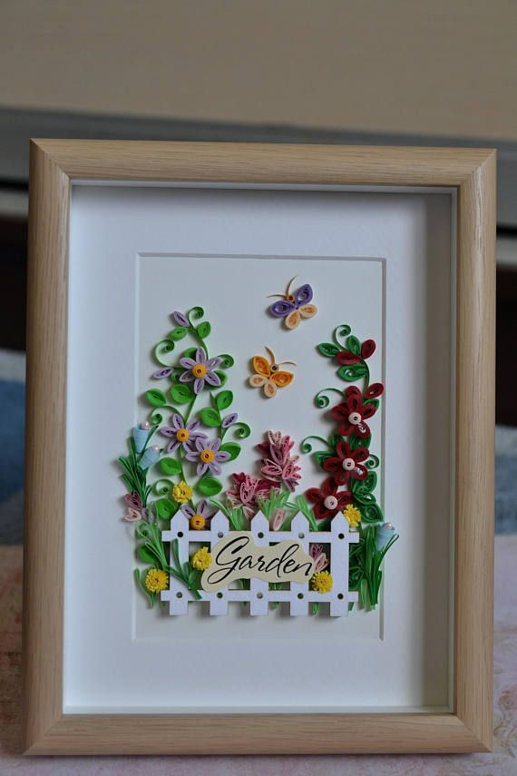 Quilling Wall Art With Flowers and Butterflies, Framed ...