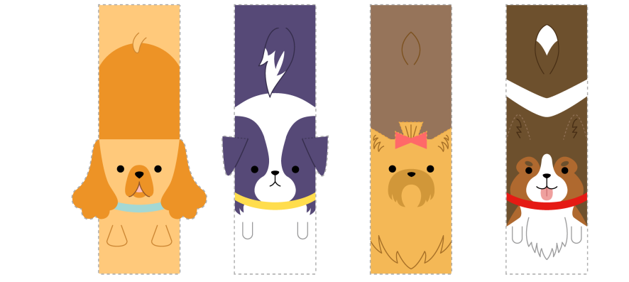 Шаблон для открытки собачки