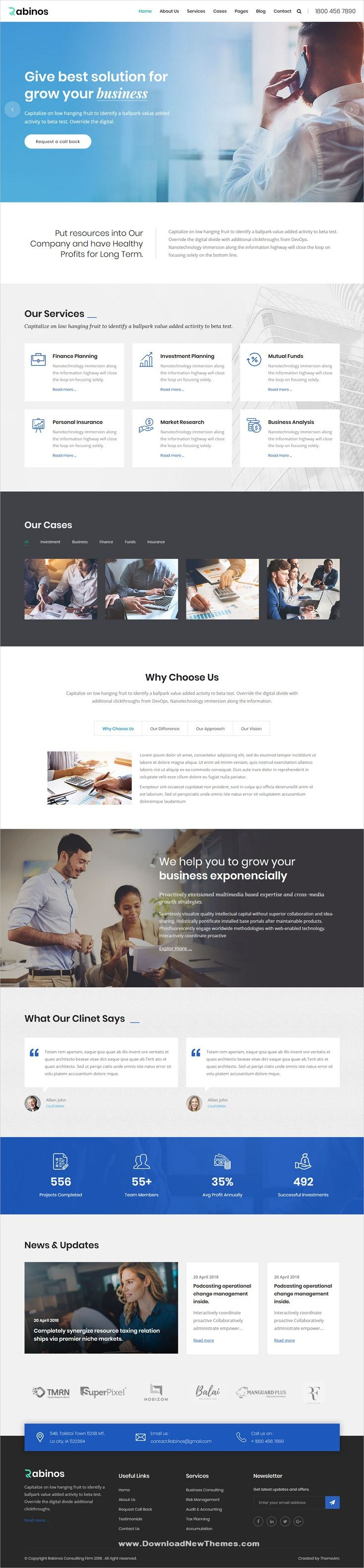 Rabinos Is A Clean And Modern Design 5in1 Responsive Bootstrap Html Theme For Consulting Business And Business Web Design Web Design Inspiration Web Design